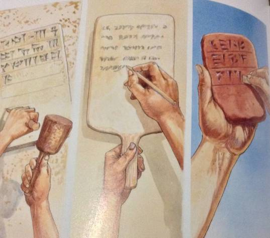 Left to right: five methods of writing in Bible times.  1.Chiselling hieroglyphics into rock 2. Writing with a stylus on a board covered with wax  3.Gouging hieroglyphics into wet clay. 4.Writing with a brush on papyrus.  5. Writing wiht a stylus on paper
